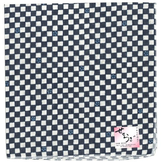 Checkered Handcarchief navy sample1