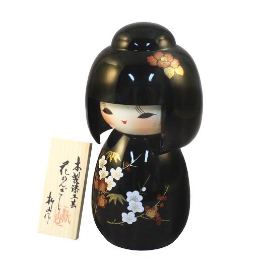 Urushi-Kokeshi Hanakanzashi Black