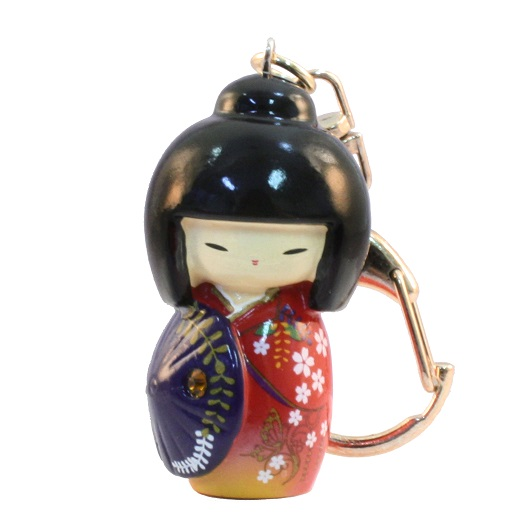 Kokeshi Keyring Kasa Red sample1