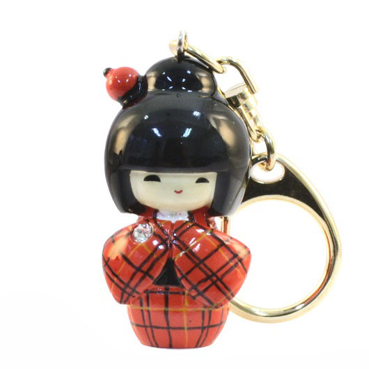 Kokeshi Keyring Kasuri Orange sample1