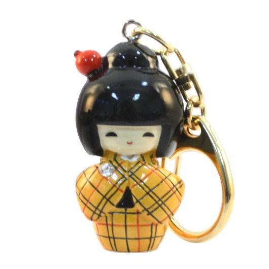 Kokeshi Keyring Kasuri Yellow sample1