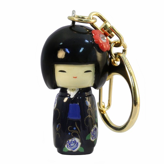 Kokeshi Keyring Furisode Blue(Flower) sample1