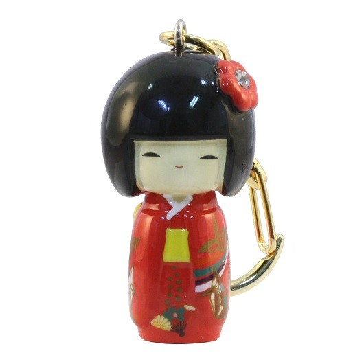 Kokeshi Keyring  Furisode Red(Crane) sample1