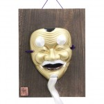 Mask Okina with wooden plate (for ornamental)