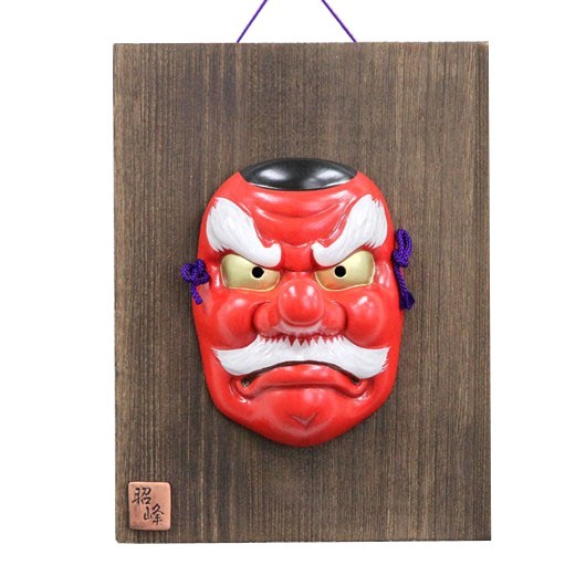 Mask Tengu with wooden plate sample1