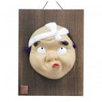 Mask Hyottoko with wooden plate (for ornamental)