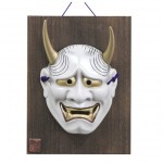 Mask Hannya with wooden plate