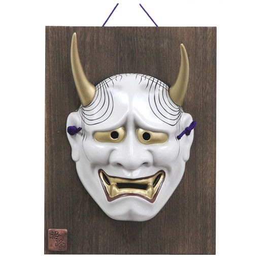 Mask Hannya with wooden plate sample1