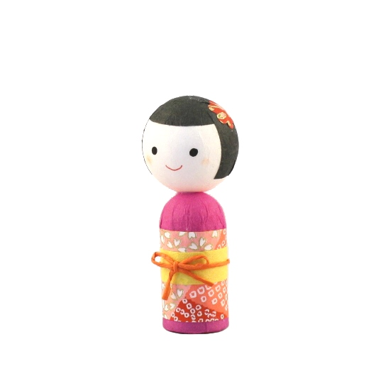 Japanese papered kokeshi S