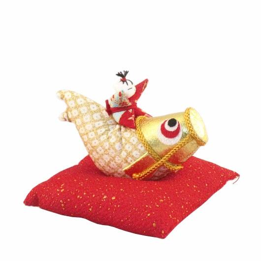 のぼり鯉わらべっこ付ゴールド 座布団付