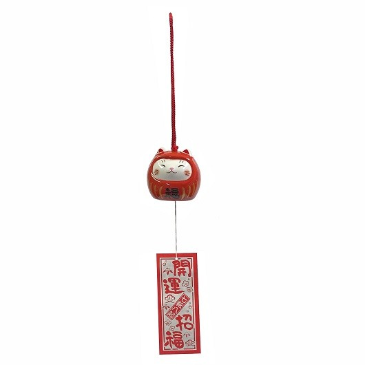 Wind bell Cat-Daruma(Akafuku) sample1