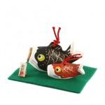 土鈴 鯉のぼり親子 (黒赤)