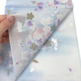 Handkerchief Kyoto-Yuzen Light Blue sample2