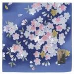 Handkerchief  Kyoto-Yuzen Kinzakura Navy