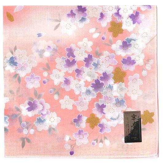 Handkerchief Kyouto-Yuzen 金桜 ピンク