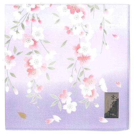 Handkerchief Kyoto-Yuzen Shidarezakura Purple