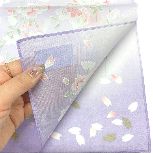 Handkerchief Kyoto-Yuzen Shidarezakura Purple sample2