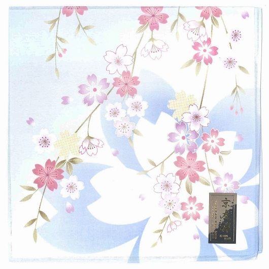 Handkerchief Kyoto-Yuzen Sakura Sax Blue