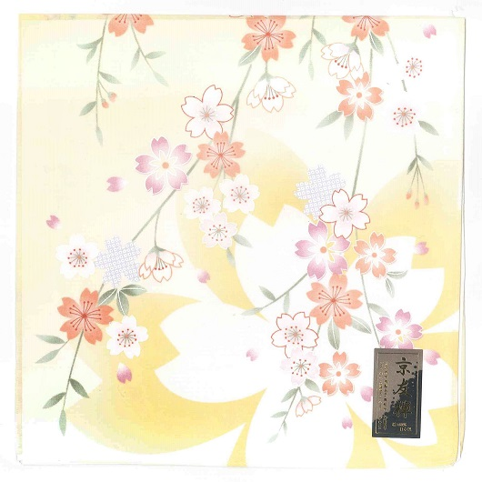 Handkerchief Kyoto-Yuzen Sakura Yellow sample1