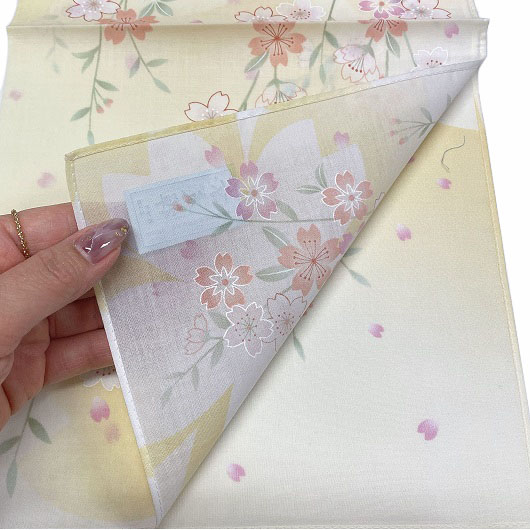 Handkerchief Kyoto-Yuzen Sakura Yellow sample2
