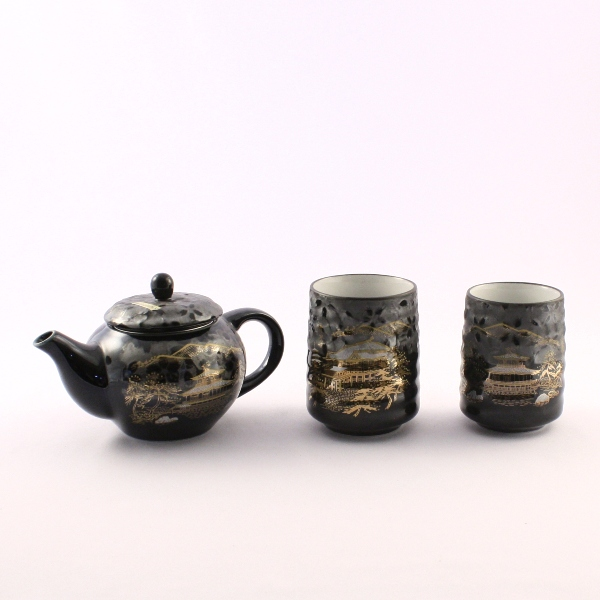 "Tea Pot Set for Two ""Flower Noted Places Black"""