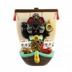 マグネット 宝船招き猫(黒)