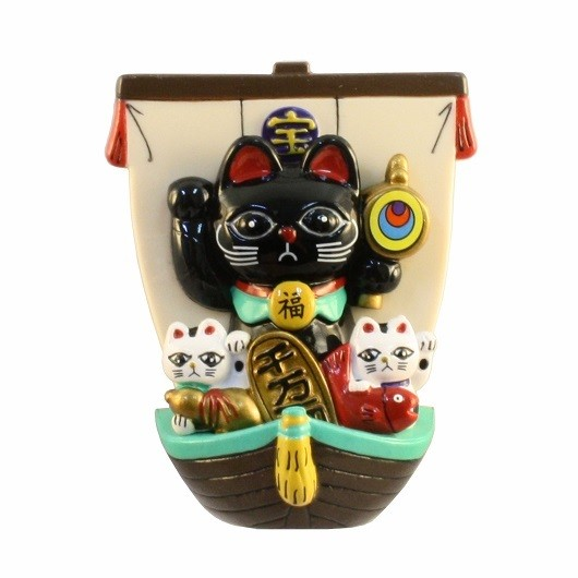 Treasure Ship Lucky Cat Black sample1