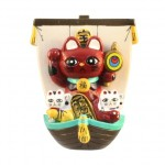 Magnet Treasure Ship Lucky Cat Red