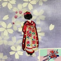 "Handkerchief ""Flower Hairpin"" Purple sample3"