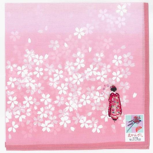 "Handkerchief ""Flower Hairpin"" Pink"