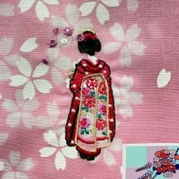 "Handkerchief ""Flower Hairpin"" Pink sample3"