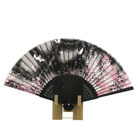 Folding Fan Sakura・Butterfly Black