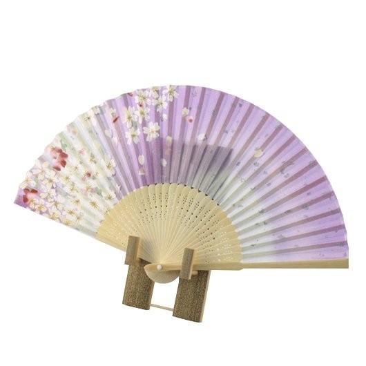 Folding Fan Sakura Purple sample1